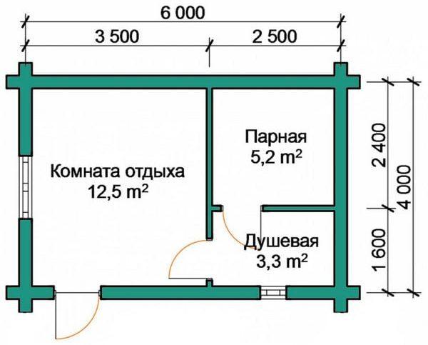 схема бани с теплым полом